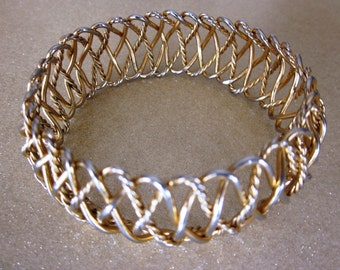 Vintage Gold Open Weave Bangle Bracelet
