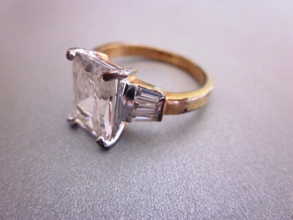 Vintage Emerald Cut Faux Diamond with Baguettes 18K G.E. Ring Size 10
