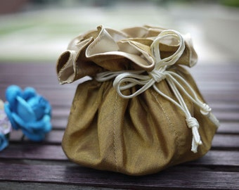 Gold jewelry bag / Traveling jewelry bag /Drawstring Pouch