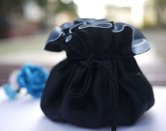 Black jewelry bag / Traveling jewelry bag /Drawstring Pouch