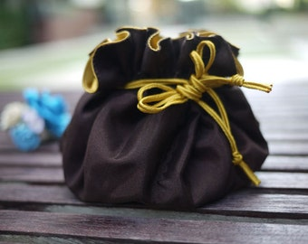 Dark brown jewelry bag / Traveling jewelry bag /Drawstring Pouch