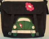Made to order,VW,Shoulder bag,messenger bag,military style with beetle and flower in felt.Choose your colour car.