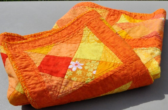 Bright Orange and Yellow Patchwork Lap Quilt 40 X 49 inches