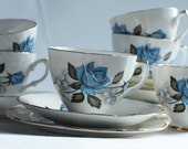 Pretty Vintage Tea-set with Blue Rose Pattern