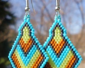 Native American Beaded Earrings, Diamond shaped, Turquoise Brown Green Charcoal Grey