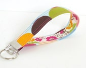 Fabric Key Fob/ Key Chain Wristlet in Retro Dot and Flower- Pink, Green, Blue