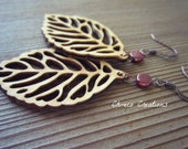 All Natural Wooden Leaf Lazer Cut Earrings, 28x55mm