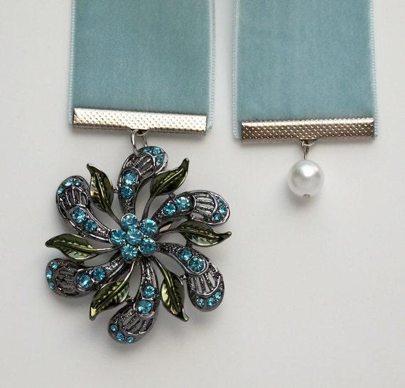 Aqua Blue Velvet Broach Bookmark