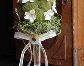 Moss Topiary with Fabric Flowers, Vintage Buttons, and Mini Bird