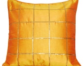 Mustard Throw Pillow, Gold Throw Pillow, Silk Throw Pillow, Yellow, Gold, Decorative Cushion, Embroidered, 16x16 - 'Sunshine Yellow'
