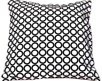 Suede Pillow, Black White Pillow Cover, Vintage Style, Velvet, Circles, Throw Pillow, Black and White Home decor- 'Vintage Fusion'