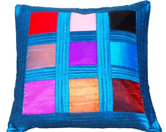 Colorful Throw Pillow, Blue Throw Pillow Cover, Multicolored, Rainbow, Decorative, Turquoise, Vibrant, Summer, Home Decor- 'Blue Cocktail'