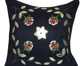 Flower Throw Pillow, Black Throw Pillow, Toss Pillow, Decorative Throw Pillow, Cushion Cover, Leaf, Flowers, Embroidered - 'Secret Garden'