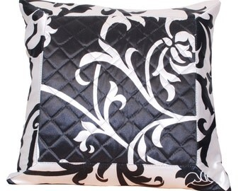 Black and White Decor, Pillow Cover, Black White Satin Throw Pillow Cover.Quilted, Bed Pillow, Soft, Comfortable- 'Black White Foliage'