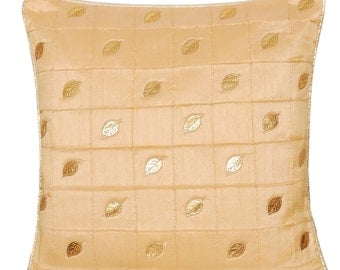 Cream Pillow Beige Throw Pillow Throw Pillow Cover Decorative Pillow Cushion Cover Leaf Pillow Gold Pillow 16x16 inches Autumn Fall Decor