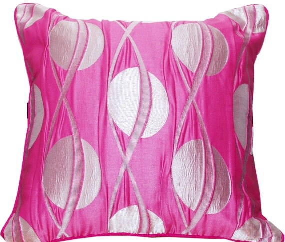 Pink Throw Pillow, Silver Throw Pillow, Pink and Silver, Throw Pillow Cover, Decorative, Shimmer, Contemporary, 16x16- 'Galactic Pink'