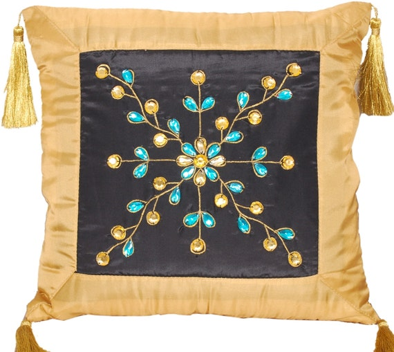 Crystals Throw Pillow, Throw Pillow, Pillow Cover, Decorative, Embroidered, Crystals, Rhinestones, Tassel, Home Decor- 'Perfect Harmony'