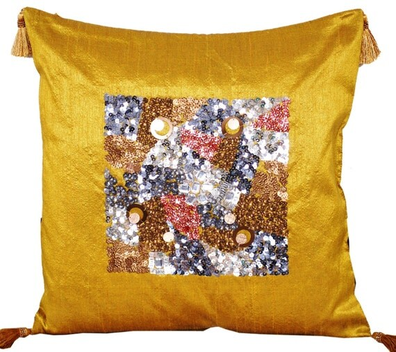 Olive Green Gold Throw Pillow Sequin Pillow Decorative