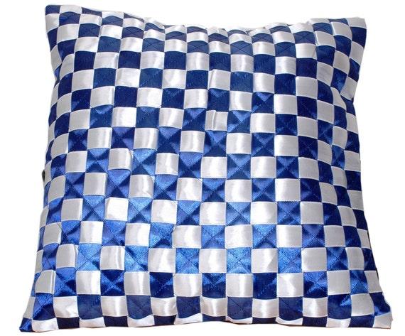 Satin Throw Pillow, Pillow Cover, Throw Pillow, Accent Pillow, Sapphire, White, Blue White, Nautical Throw Pillow- 'Nautical Blue and White