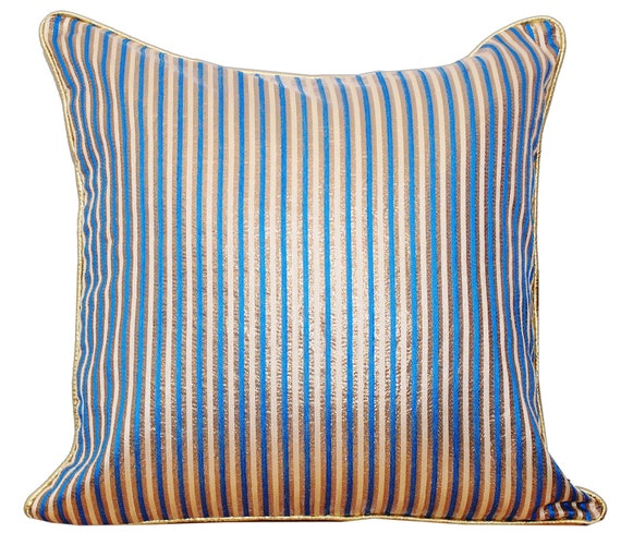 Striped Throw Pillow Throw Pillow Cover Pillow Cover Blue