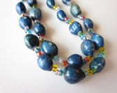 Simple Blue Meditation Beads-Necklace