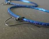 Blue and violet earring hoops