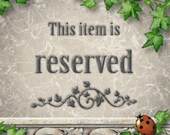RESERVED Listing for Vicki ONLY