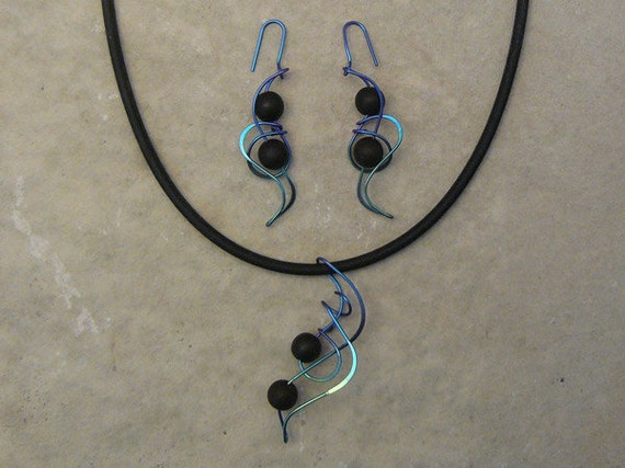 Designer pendant on cord with drop earrings, anodized niobium, sterling, gold filled CHOICE of Semi-PRECIOUS Beads