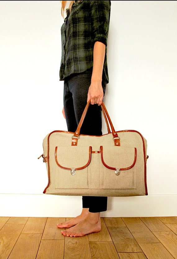 Leather and impregnated cotton Weekend Duffle bag