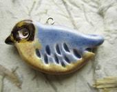 Ceramic Bird Pendant - Blue/Yellow/Blue-tit - Unique, Cute, Funky, Fun