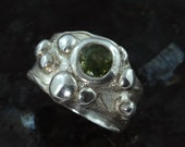 Galaxy- Galaxy series, Natural tourmaline fine silver ring -  available by custom order