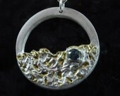 Moonscape fine silver and gold pendant