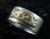 Autumn Leaves fine silver and 22 kt gold ring sz 7.5