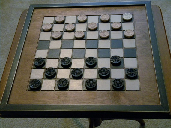 Wood Checkerboard with Black and White Squares and Early American Stained Finish