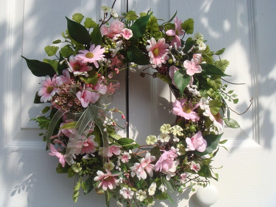 Wreath,  summer wreath,  pink and white daisies front door wreath