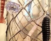 Upcycled Silver Nautical Fishing Lure Glass Bottle Artisan Light Oil Lamp