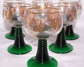 FREE S & H Vintage 6pc Romers Rummers Roemers Germany Emerald Green Ringed Stem Glasses Gold Grapes Antique Retro Breweriana