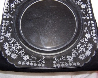 FREE S&H Vintage Fostoria Glass Plates Etched Manor Design 1933 - 43 RARE and Nice Condition 6 pcs Dessert or Salad