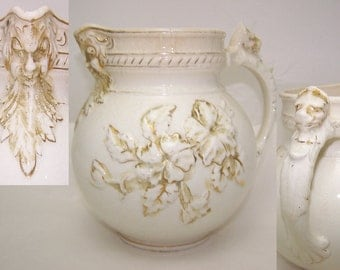 Haynes Ware Baltimore Pottery Pitcher 1800s Romantic Prairie Cottage Shabby Chic Country Best Details