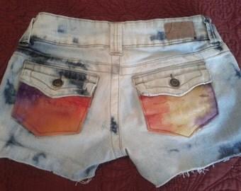 Upcycled Hydraulic Denim Womens/Junior Cut Off Jean Shorts Size 0.