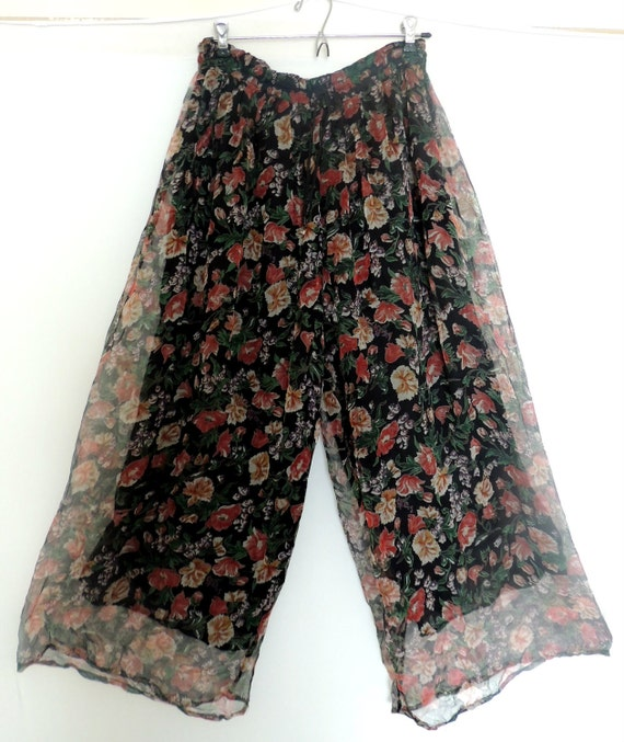 RESERVED FOR CUSTOMER Vintage 80s Palazzo Pants Floral Deadstock