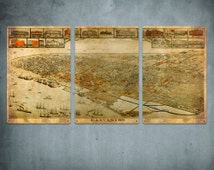"""Old Map of Galveston Texas METAL triptych 34x17"""" FREE SHIPPING"""