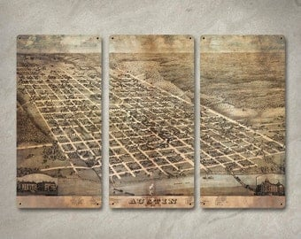 "Vintage map of Austin Texas METAL triptych 36x24"" FREE SHIPPING"