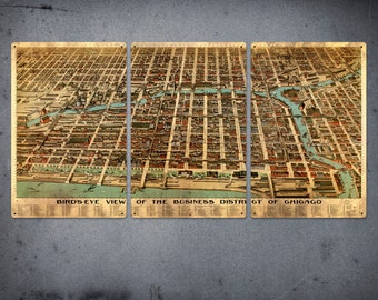 "Old Map of Chicago on METAL -  34"" x 17"" Triptych - FREE SHIPPING"