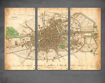 "Vintage Map of Dublin, Ireland METAL triptych 36x24"" FREE SHIPPING"