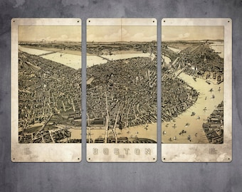 "Vintage Map of Boston METAL Triptych 36x24"" FREE SHIPPING"