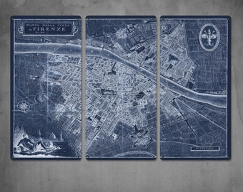 """SALE! Florence Italy METAL Map Triptych 36x24"""" Free Shipping"""