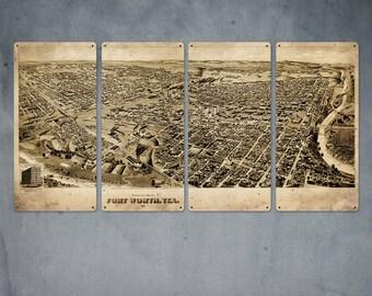 "Vintage Fort Worth Texas METAL Quadriptych 48x24"" FREE SHIPPING"