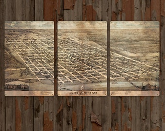 "Vintage Austin Texas METAL map triptych 72x36"" FREE SHIPPING"