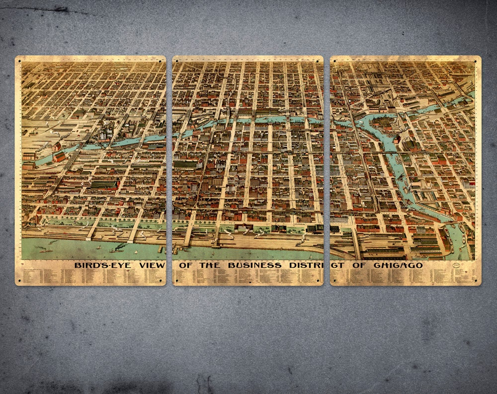 Old Map Of Chicago METAL Triptych  X  FREE SHIPPING - Chicago map etsy